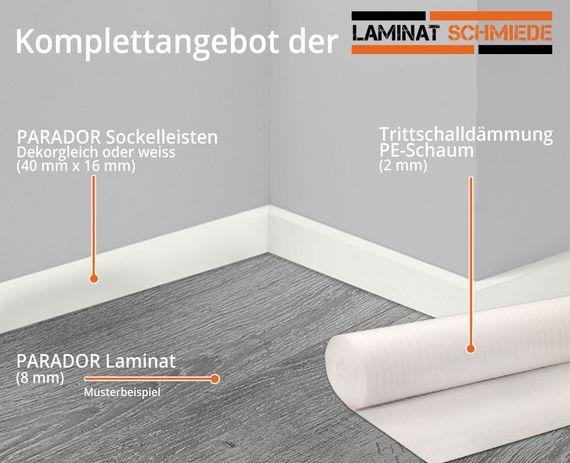 PARADOR Komplettangebot Laminat Basic 400 Mini-4V-Fuge Landhausdiele 8 Dekore – Bild 2