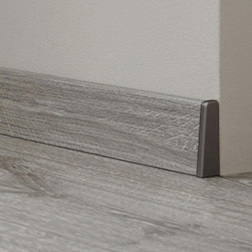 Endkappen / Abschlusskanten silber grau passend zu KRONOTEX Sockelleiste Ktex 1 (58 x 19 x 2400 mm) – Bild