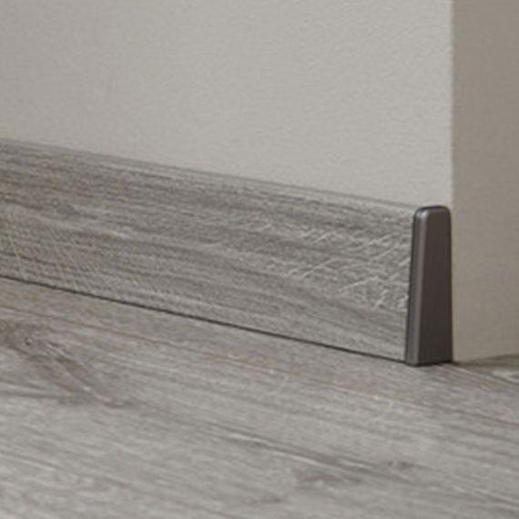Endkappen / Abschlusskanten silber grau passend zu KRONOTEX Sockelleiste Ktex 1 (58 x 19 x 2400 mm)