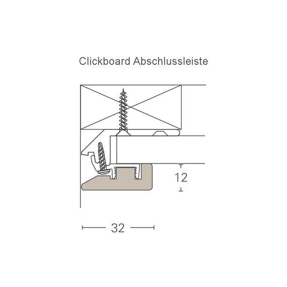 PARADOR Deckenleiste Abschlussleiste ClickBoard Betonoptik 1602148 Dekor (12 x 32 mm) – Bild 2