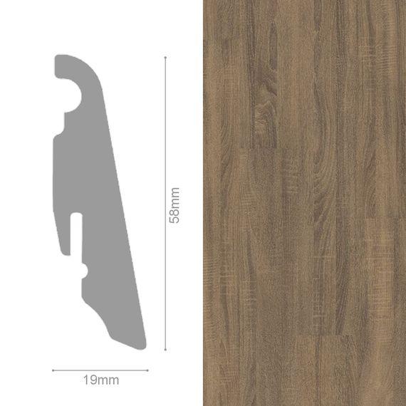 WINEO 19 / 58mm Sockelleiste Fußleiste Dekor Venero Oak brown MDF-Träger – Bild 1
