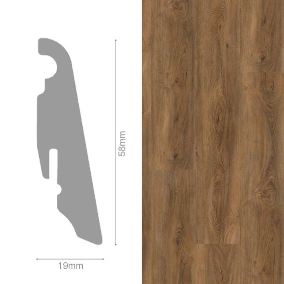 WINEO 19 / 58mm Sockelleiste Fußleiste Dekor Cyprus Dark Oak MDF-Träger – Bild 1