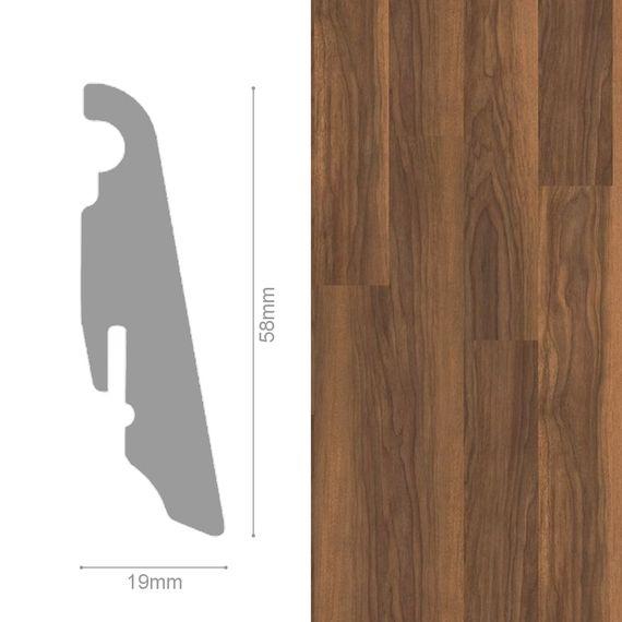 WINEO 19 / 58mm Sockelleiste Fußleiste Dekor Sardinia Wild Walnut MDF-Träger – Bild 1