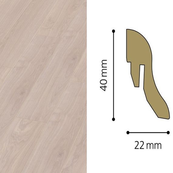Sockelleiste passend zu Kronotex Dekor D2873 Waveless Oak white, 40mm, 7215-L