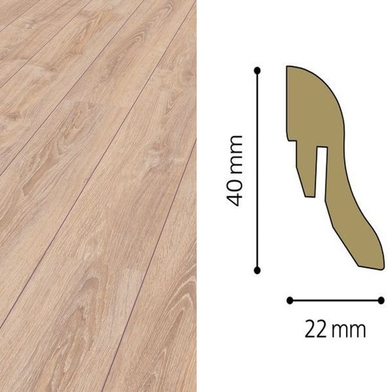 Sockelleiste passend zu Kronotex Dekor D2987 Whitewashed Oak, 40mm, 8125-L