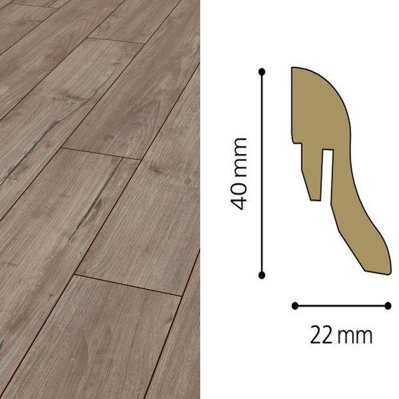 Sockelleiste passend zu Kronotex Dekor D3242 Nostalgie Teak silber, 40mm, 8125-L
