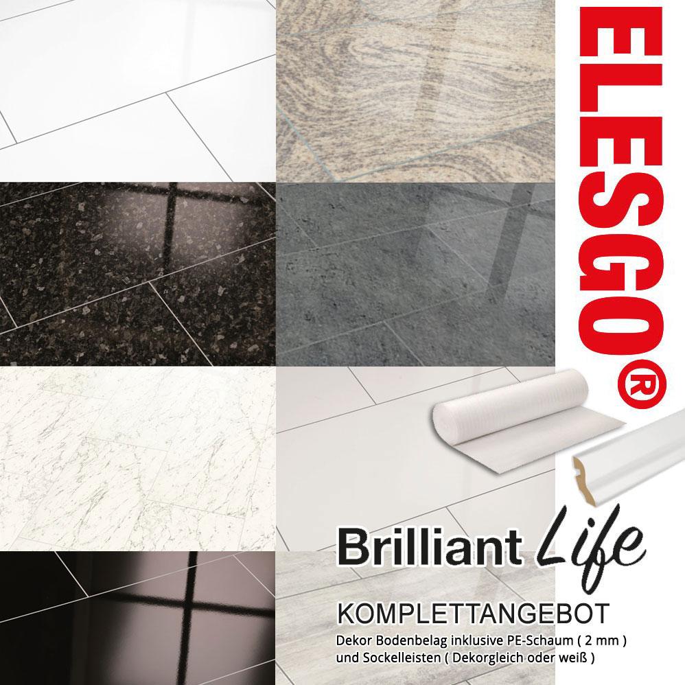 ELESGO Komplettangebot Laminat Brilliant Life Superglanz Maxi V5 Fliesenoptik 8 Dekore inkl. Leisten u. Dämmung – Bild 1