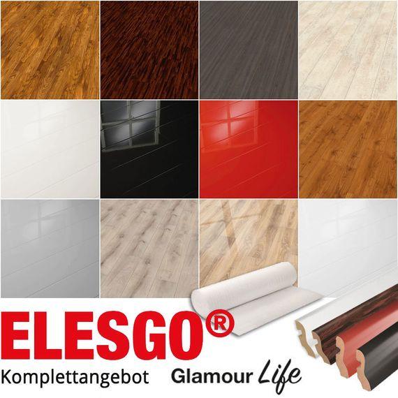 ELESGO Komplettangebot Laminat Glamour Life Superglanz inkl. Leisten u. Dämmung 12 Dekore – Bild 1